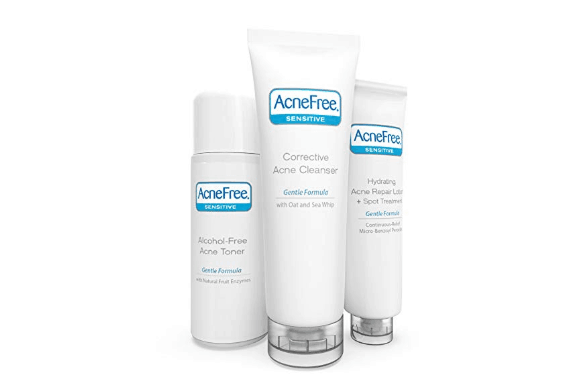 AcneFree 3 Step Acne Treatment Kit - Salicylic Acid Acne Face Wash and Alcohol-Free Toner with Benzoyl Peroxide Lotion